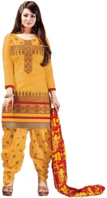 zhenith creation Cotton Embroidered Salwar Suit Dupatta Material