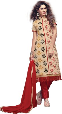 Yothmart Chanderi Embroidered Semi-stitched Salwar Suit Dupatta Material