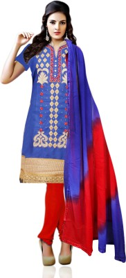 Poonam Creation Cotton Polyester Blend Embroidered Salwar Suit Dupatta Material