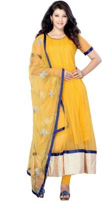 SLF Designers Net Self Design Semi-stitched Salwar Suit Dupatta Material