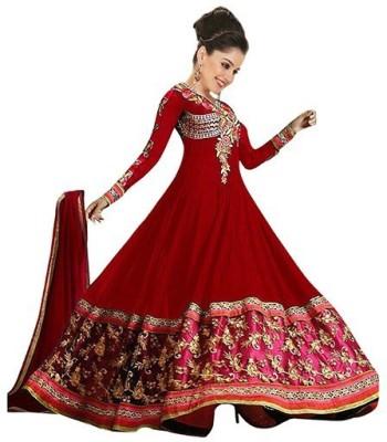 Prettyfashion Georgette Embroidered Salwar Suit Dupatta Material