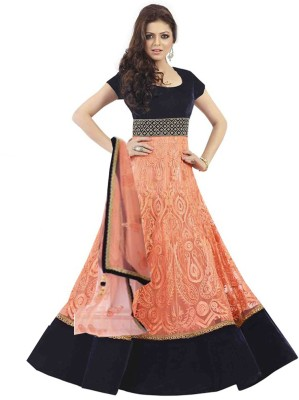 JKV Net Embroidered Semi-stitched Salwar Suit Dupatta Material
