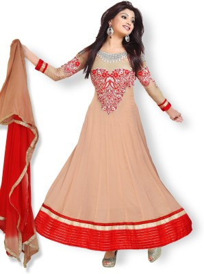 OrangeFab Georgette Embroidered Semi-stitched Salwar Suit Dupatta Material