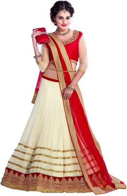Style Mania Red Colored Dupain Lehenga Choli Georgette Embroidered Lehenga Choli Material