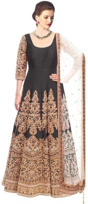 Fabfirki Fashion Hub Brocade, Art Silk, Organza Embroidered Semi-stitched Salwar Suit Material