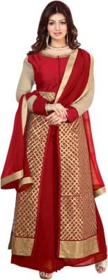 Craftliva Silk Embroidered Semi-stitched Salwar Suit Dupatta Material