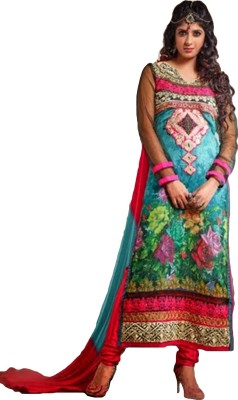 Tulip Collections Georgette Embroidered, Floral Print Semi-stitched Salwar Suit Dupatta Material