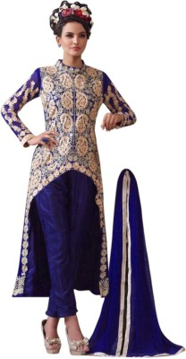 Manar Synthetic Georgette, Cotton Silk Blend Embroidered, Paisley Semi-stitched Salwar Suit Dupatta Material