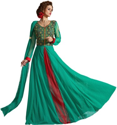 Vbuyz Net Embroidered Semi-stitched Gown, Salwar and Dupatta Material