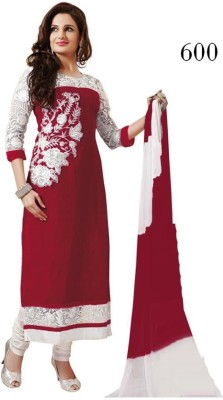 Fladorfabric Georgette, Velvet Embroidered Semi-stitched Salwar Suit Dupatta Material