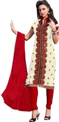 Multiretail Chanderi Embroidered Semi-stitched Salwar Suit Dupatta Material