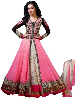 SMARTLOOK Net Embroidered Semi-stitched Salwar Suit Dupatta Material