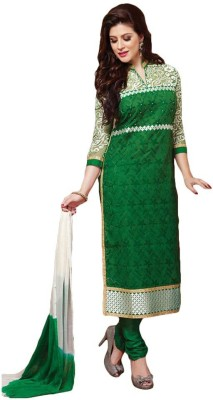 FR Chanderi, Silk Embroidered, Self Design Semi-stitched Salwar Suit Dupatta Material