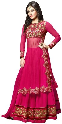 Radhe Studio Georgette Embroidered Semi-stitched Salwar Suit Dupatta Material