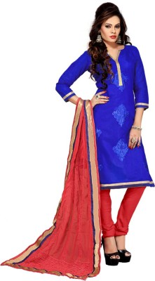 Style Mania Chanderi Embroidered Salwar Suit Material