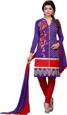 Eleven Creation Chanderi Embroidered Semi-stitched Salwar Suit Dupatta Material