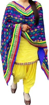 Fashion Ritmo Cotton Solid, Embroidered Semi-stitched Salwar Suit Dupatta Material