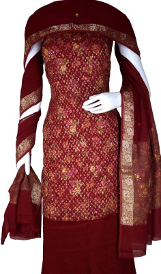 Haleema Crafts Crepe Woven, Printed, Embroidered Salwar Suit Material