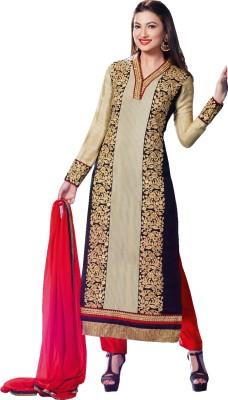 Fashionsurat Georgette Self Design Semi-stitched Salwar Suit Dupatta Material