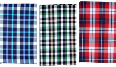 Sahyog Cotton Polyester Blend Checkered Shirt Fabric(Un-stitched)