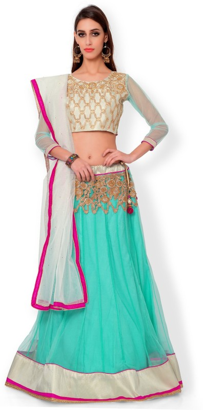 Bhelpuri Net Embroidered Semi-stitched Lehenga Choli Material