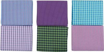 Men In Black Cotton Polyester Blend Solid, Checkered, Striped Shirt Fabric
