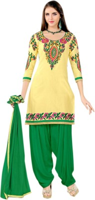 Harikrishn Cotton Embroidered Semi-stitched Salwar Suit Dupatta Material