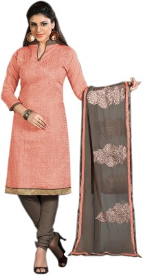 Ligalz Chanderi Embroidered Semi-stitched Salwar Suit Dupatta Material