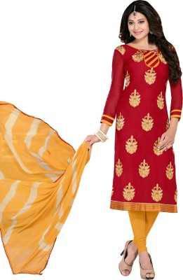 Saara Cotton Printed, Embroidered Salwar Suit Dupatta Material(Un-stitched) at flipkart