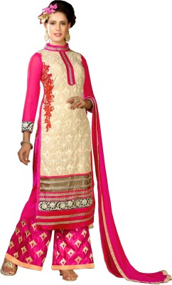 Eleven Creation Georgette Embroidered Semi-stitched Salwar Suit Dupatta Material