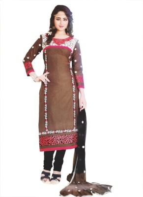 Elegant Trendz Cotton Embroidered, Applique Semi-stitched Salwar Suit Dupatta Material