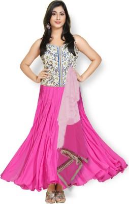 Fabfiza Georgette Self Design Semi-stitched Salwar Suit Dupatta Material
