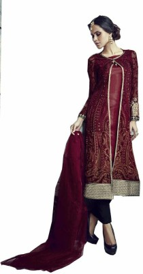 Salasar Creation Georgette Embroidered Semi-stitched Salwar Suit Dupatta Material