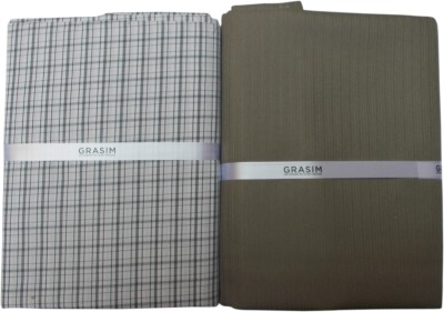 Grasim Suitings Cotton Polyester Blend Checkered Shirt & Trouser Fabric