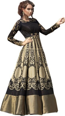 Vastrani Silk Embroidered Semi-stitched Salwar Suit Dupatta Material