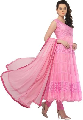 Fexy Net Solid Semi-stitched Salwar Suit Dupatta Material