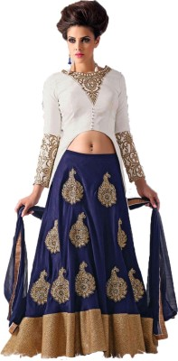 KrishnaFashion321 Georgette Embroidered Semi-stitched Lehenga Choli Material
