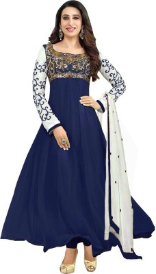 Abc3 Georgette Embroidered Semi-stitched Salwar Suit Dupatta Material