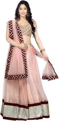 Kashish Lifestyle Net Embroidered Semi-stitched Lehenga Choli Material