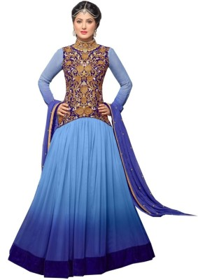 Punamfashion Net Embroidered Semi-stitched Salwar Suit Dupatta Material