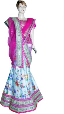 Divya Fashion Designers Net Embroidered, Floral Print Lehenga Choli Material