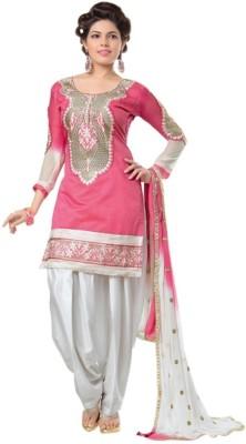 Shree Creation Chanderi Embroidered Semi-stitched Salwar Suit Dupatta Material