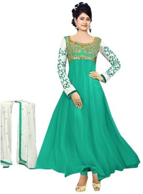 Swastik Creations Georgette Embroidered Semi-stitched Salwar Suit Dupatta Material