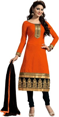 Zombom Chanderi Embroidered Salwar Suit Dupatta Material