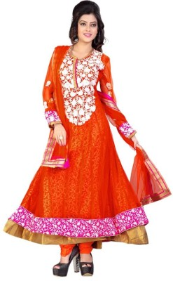 Priyanka Creation Net Embroidered Semi-stitched Salwar Suit Dupatta Material