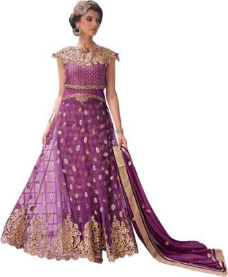 Shoponbit Net Embroidered Semi-stitched Salwar Suit Dupatta Material at flipkart