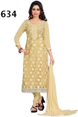 Avani Textiles Georgette Embroidered Semi-stitched Salwar Suit Dupatta Material