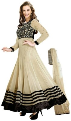 FB Fashion Georgette Embroidered Semi-stitched Salwar Suit Dupatta Material