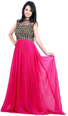 yogifashion Net Embroidered Semi-stitched Gown