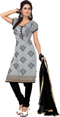 Ganga Fashion Chanderi Embroidered Semi-stitched Salwar Suit Dupatta Material